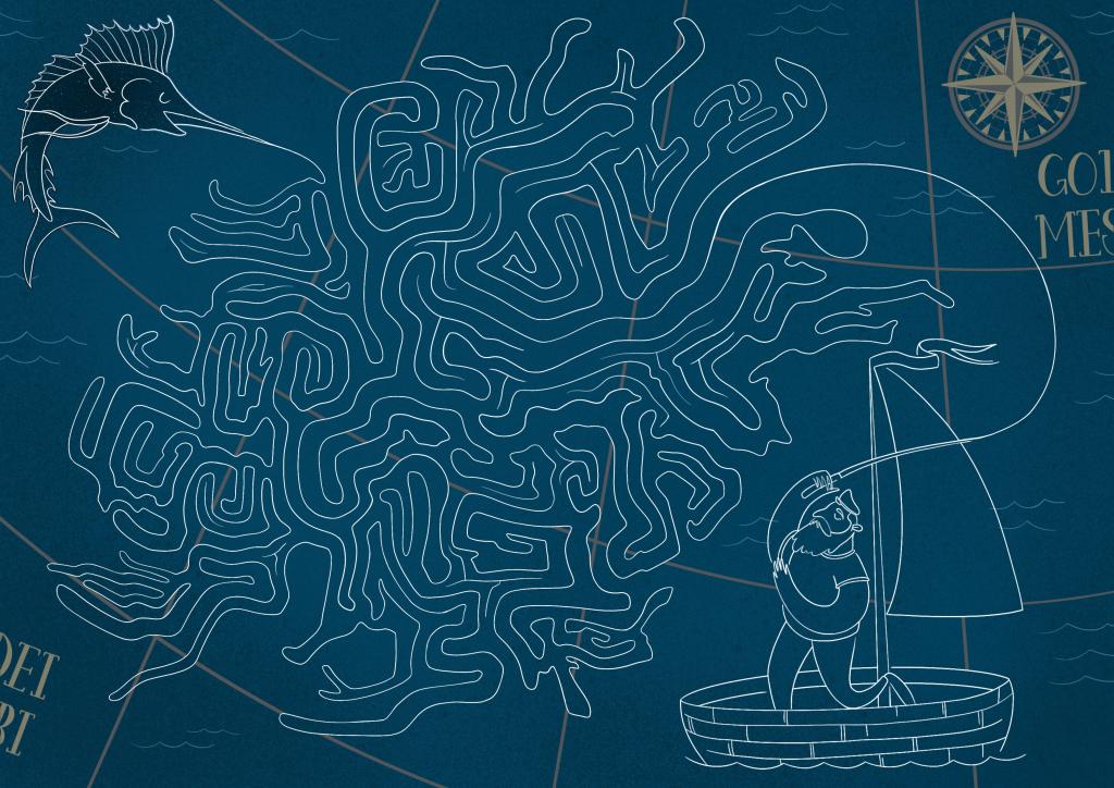 """La mappa del romanzo di Hemingway """"Il vecchio e il mare"""" - Cartografia Letteraria"""