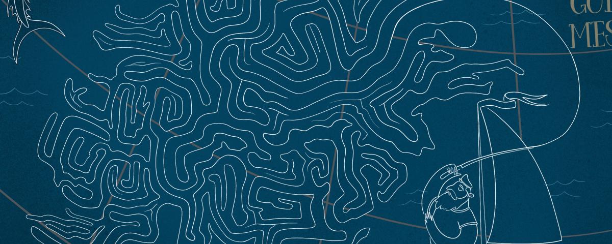 """Mappa illustrata """"Il vecchio e il mare"""" di Ernest Hemingway - Cartografia Letteraria"""